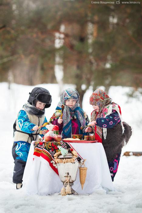детская съёмка на масленицу в лесу