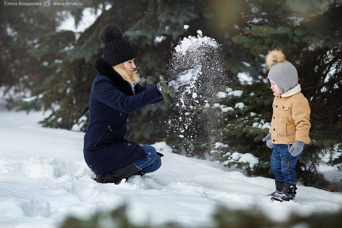 зимняя семейная фотосессия на природе