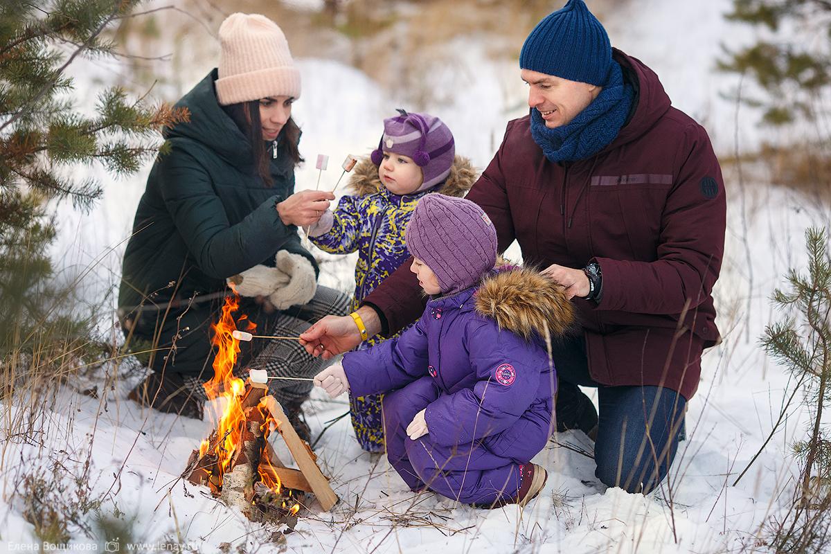 зимняя фотосессия на природе для семьи в нижнем новгороде