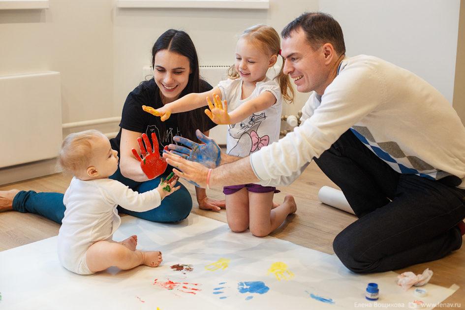 домашняя фотосессия с малышом семейная